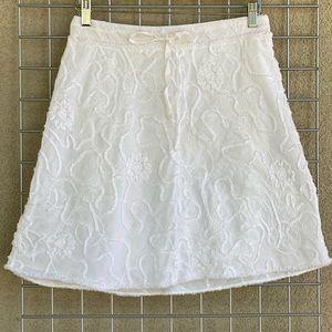 Linen Cotton Blend Floral Detail Brocade Skirt